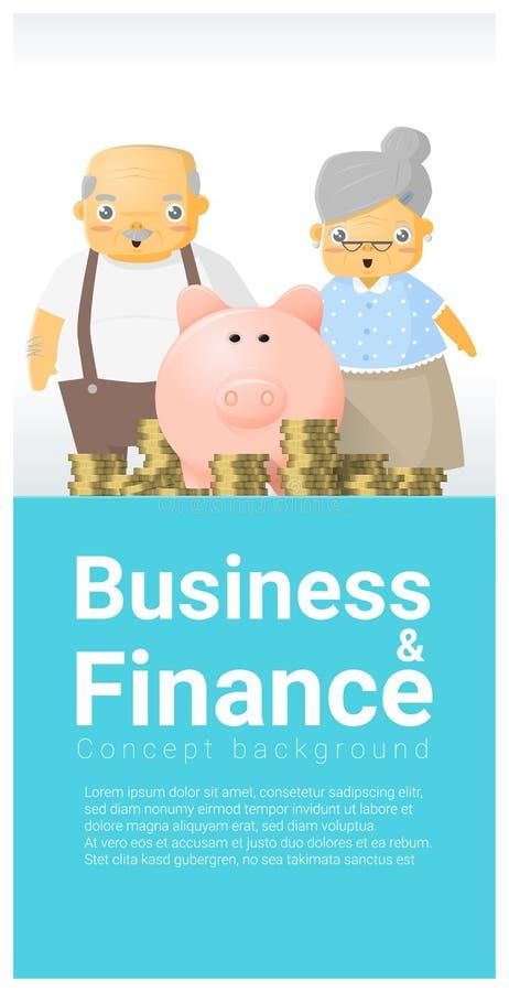 Fondo del concepto del negocio y de las finanzas con plan mayor de los pares y de retiro libre illustration