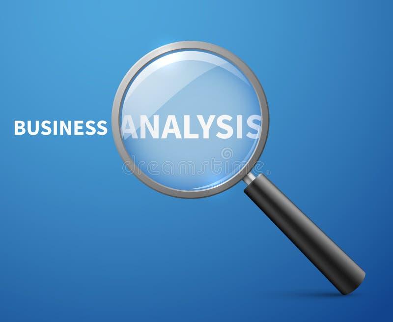 Fondo del concepto del vector del análisis de negocio con la lupa ilustración del vector