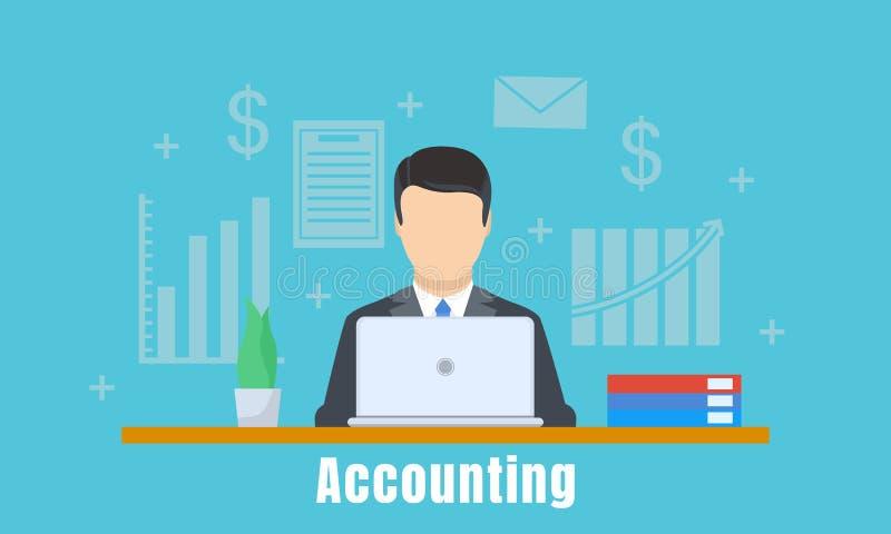 Fondo del concepto del hombre de la oficina de contabilidad, estilo plano stock de ilustración