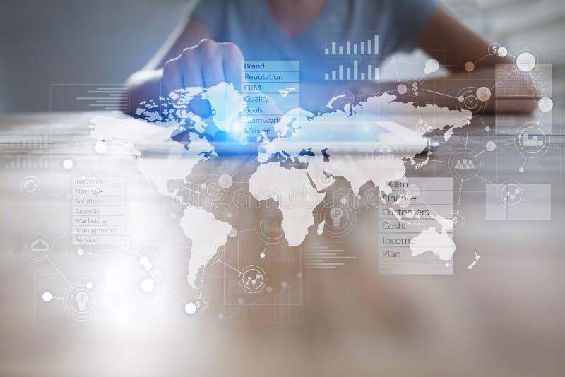 Fondo del concepto del negocio Pantalla virtual con el espacio vacío para el texto Internet y tecnología ilustración del vector