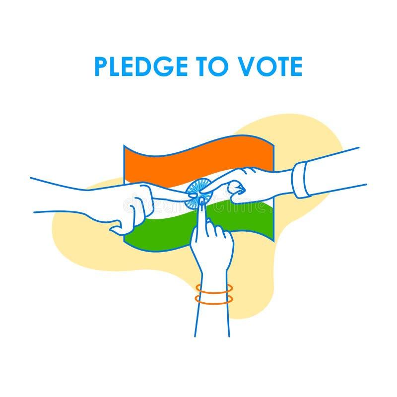 Fondo del concepto para el voto la India para la bandera de la campaña de la democracia de la elección stock de ilustración