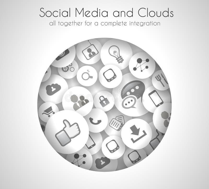 Fondo del concepto social de los medios y de la nube ilustración del vector