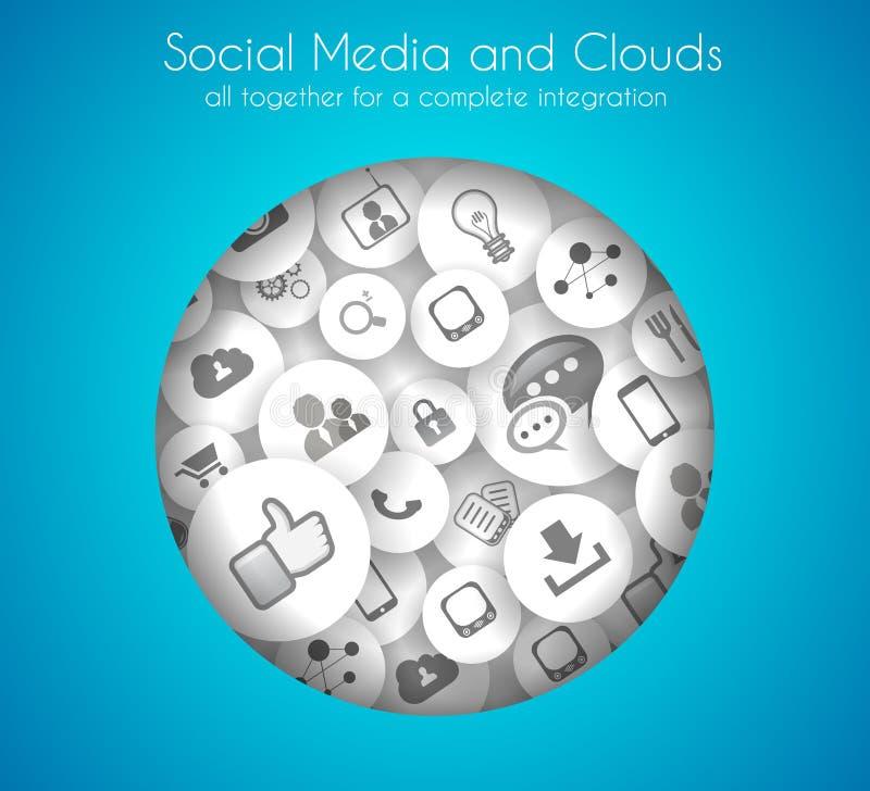Fondo del concepto social de los medios y de la nube stock de ilustración