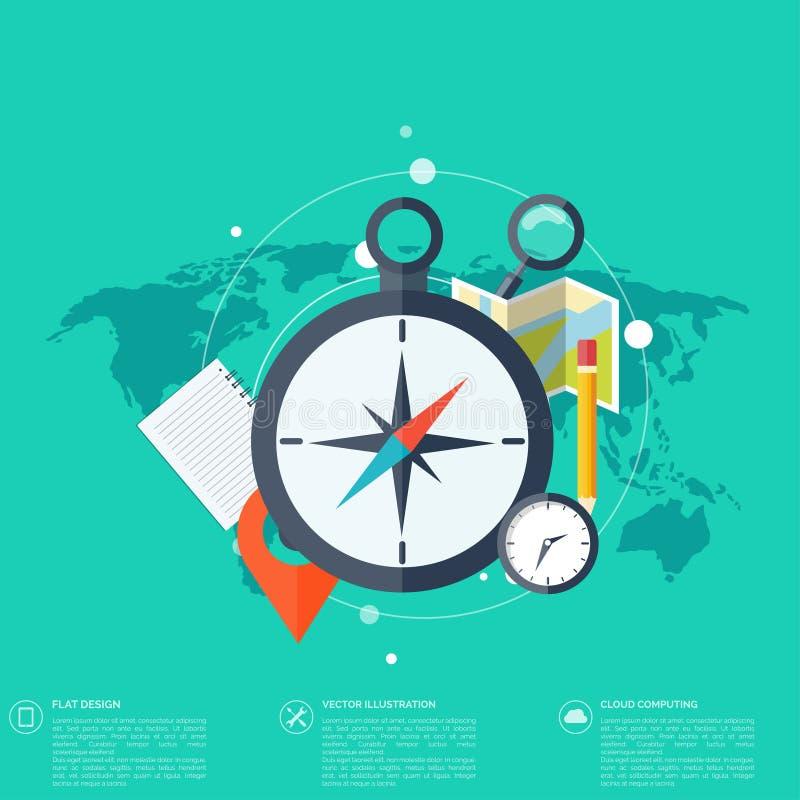Fondo del concepto del World Travel Iconos planos ilustración del vector