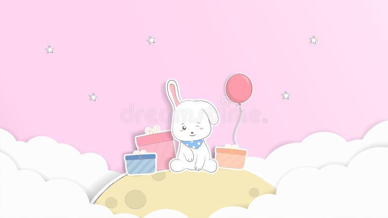 Fondo del conejo lindo del bebé y tarjeta de felicitación en colores pastel historieta imagen de archivo libre de regalías