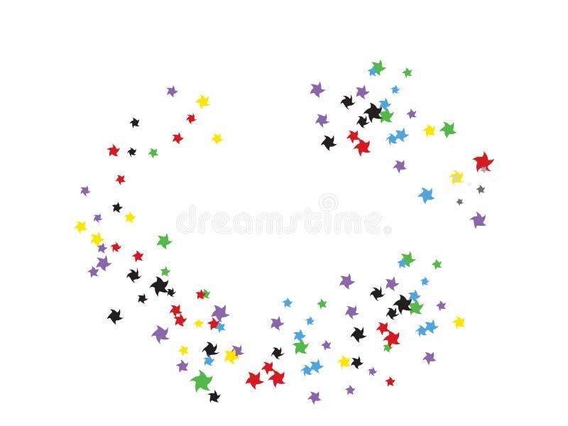 Fondo del confeti de las estrellas del garabato que vuela ilustración del vector