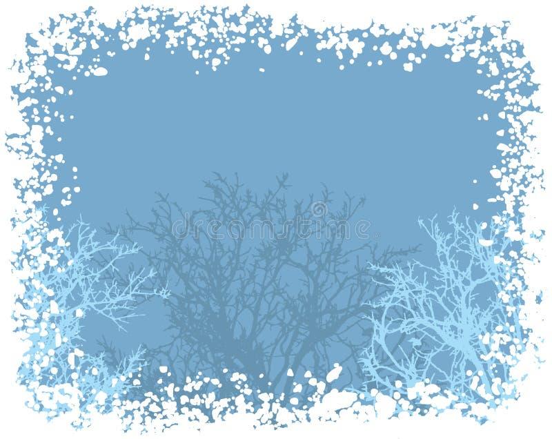 Fondo del confine della neve di inverno illustrazione di stock