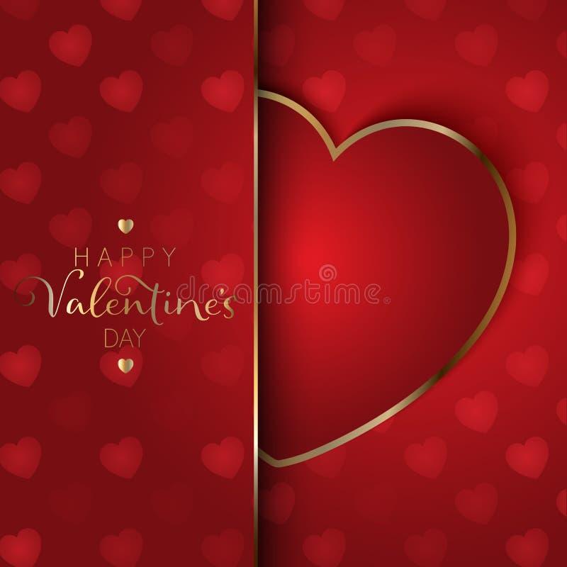 Fondo del corazón del día del ` s de la tarjeta del día de San Valentín con oro y corazón rojo stock de ilustración