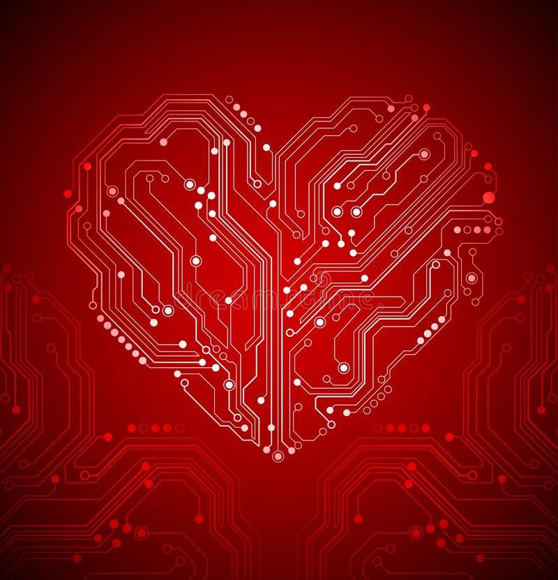Fondo del corazón de la placa de circuito - vector creativo de la idea stock de ilustración