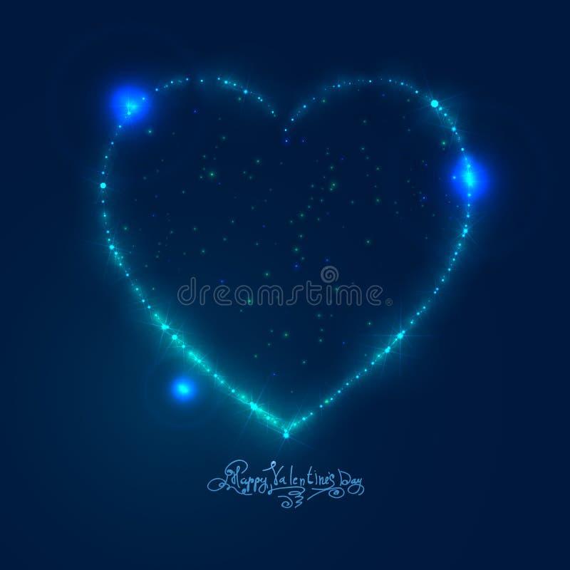 Fondo del corazón del amor de las estrellas brillantes hermosas stock de ilustración