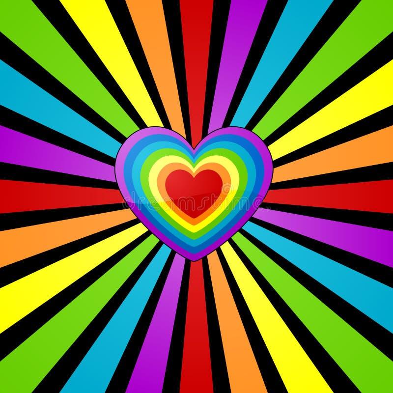 Fondo del corazón del arco iris. stock de ilustración