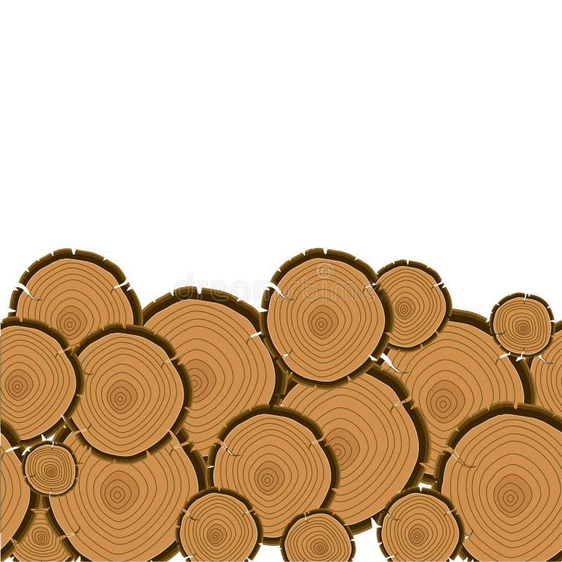 Fondo del corte de los anillos de árbol Sección de madera del tronco stock de ilustración