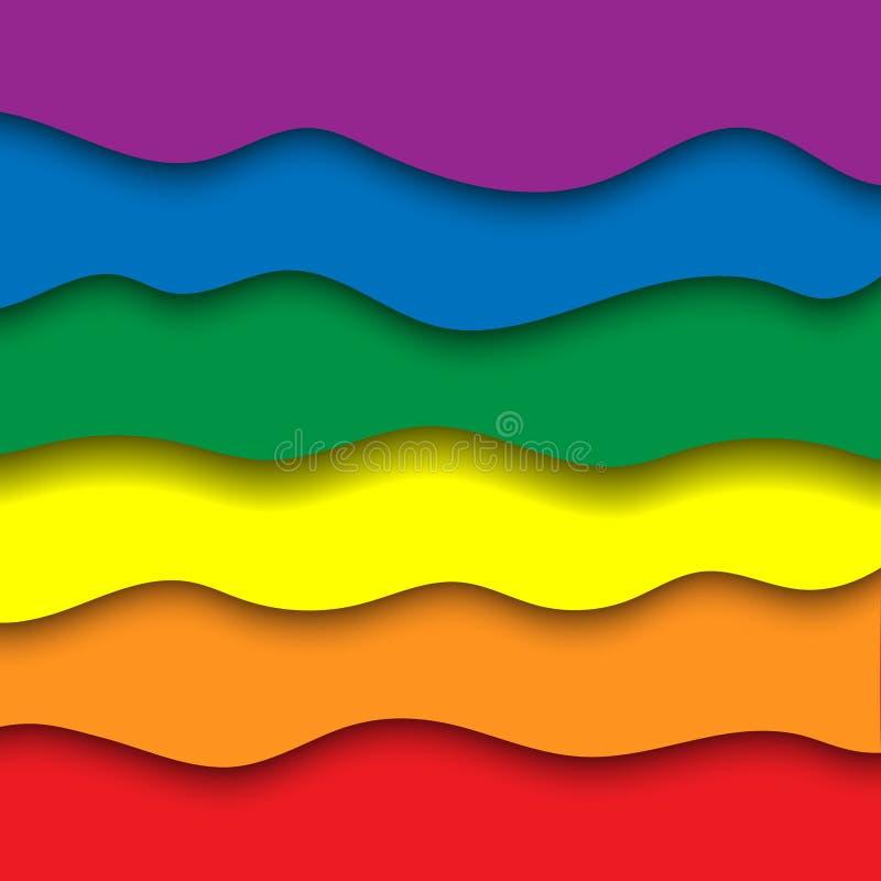 Fondo del corte del papel del arco iris stock de ilustración