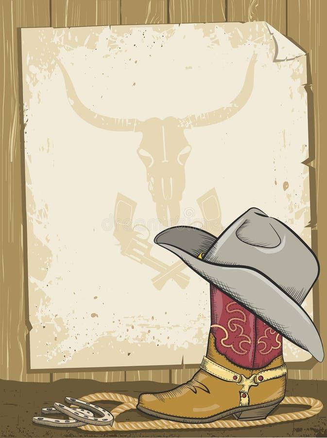 Fondo del cowboy con lo stivale e documento per testo royalty illustrazione gratis