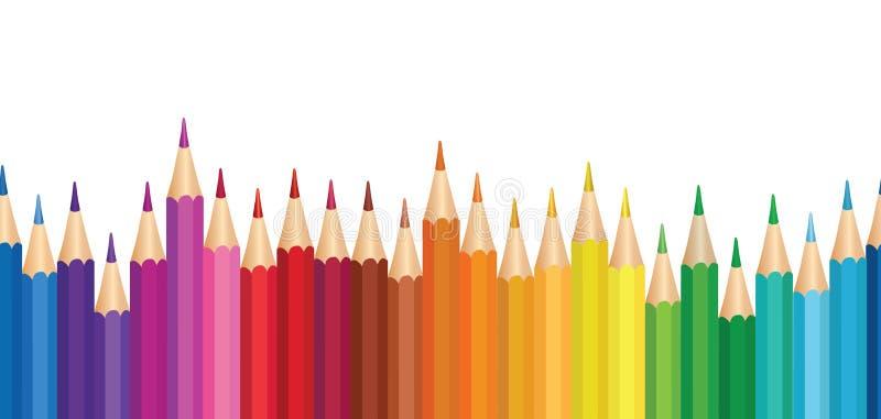 Fondo del creyón Modelo horizontal inconsútil de la frontera del lápiz colorido stock de ilustración