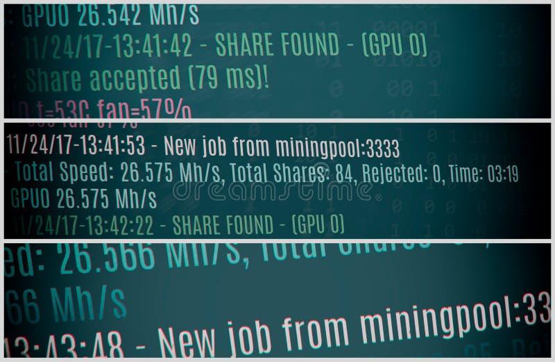 Fondo del cryptocurrency de la explotación minera Bitcoin imagenes de archivo