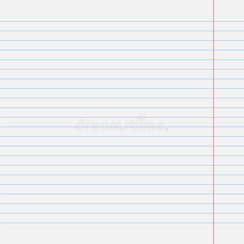 Fondo del cuaderno Hoja de un cuaderno en una tira y una regla Ilustración del vector ilustración del vector