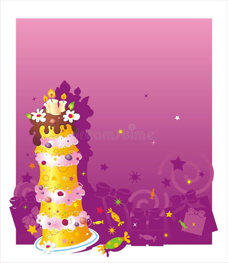 Fondo del cumpleaños con la torta fotos de archivo libres de regalías