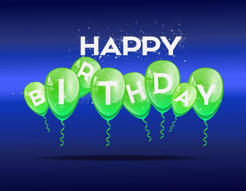 Fondo del cumpleaños con los globos verdes fotos de archivo libres de regalías