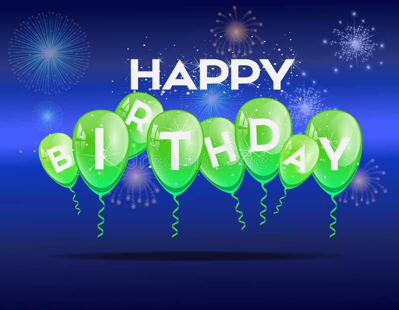 Fondo del cumpleaños con los globos verdes fotografía de archivo