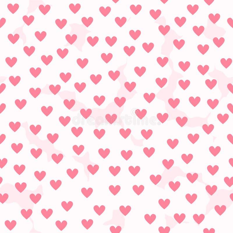 Fondo del cuore con i punti lanuginosi bianchi Picchiettio senza cuciture di vettore royalty illustrazione gratis