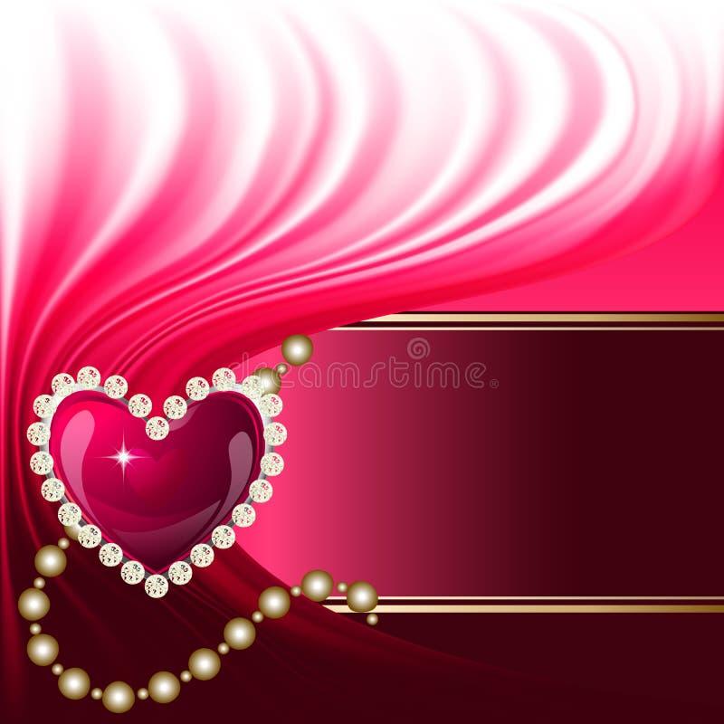 Fondo del cuore dei gioielli illustrazione di stock