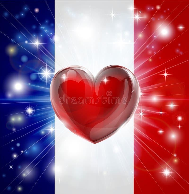 Fondo del cuore della bandiera della Francia di amore illustrazione di stock