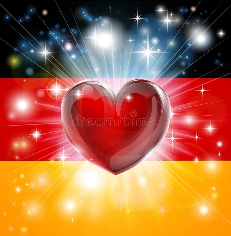 Fondo del cuore della bandiera della Germania di amore illustrazione di stock