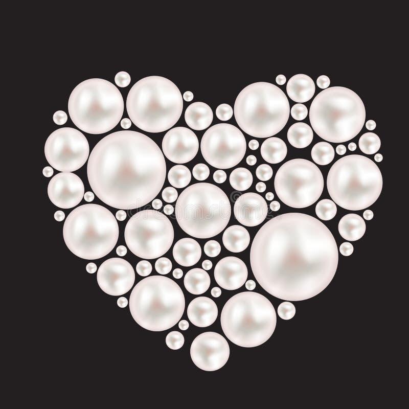 Fondo del cuore della perla Illustrazione di vettore royalty illustrazione gratis