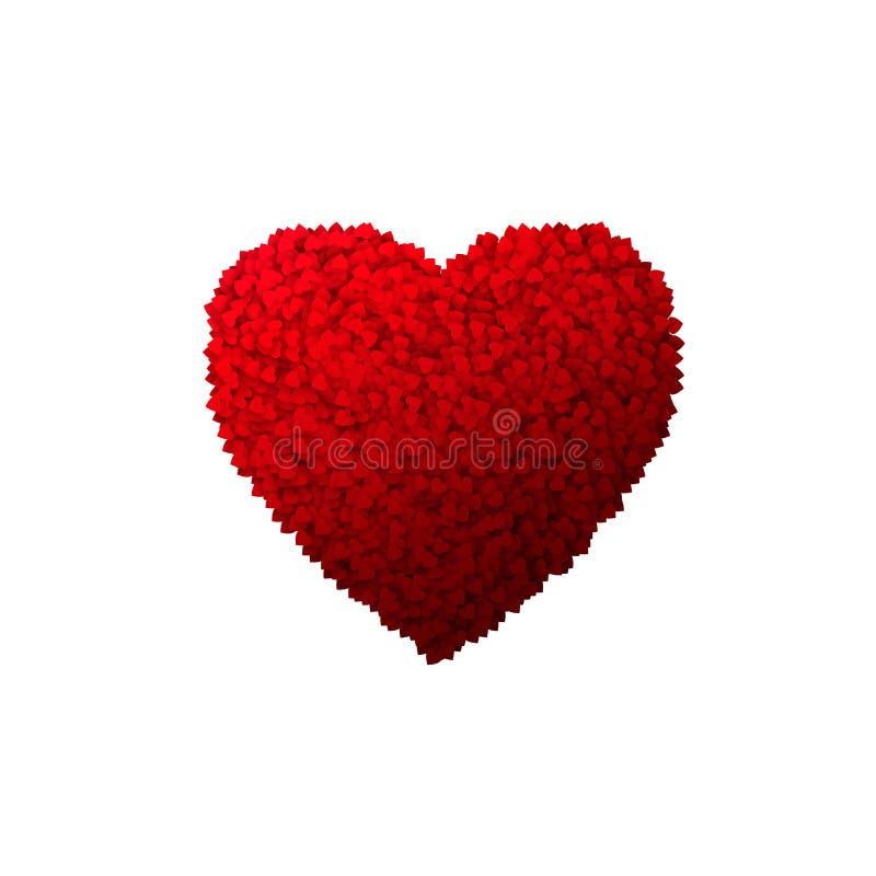 Fondo del cuore di giorno di biglietti di S. Valentino con il lotto dei cuori Illustrazione di vettore isolata su bianco illustrazione di stock
