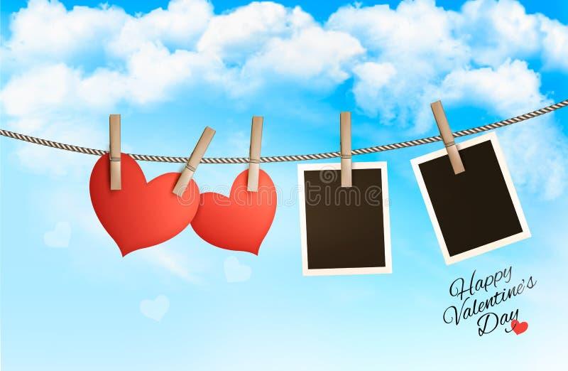 Fondo del día de fiesta con corazones de papel rojos y dos fotos stock de ilustración