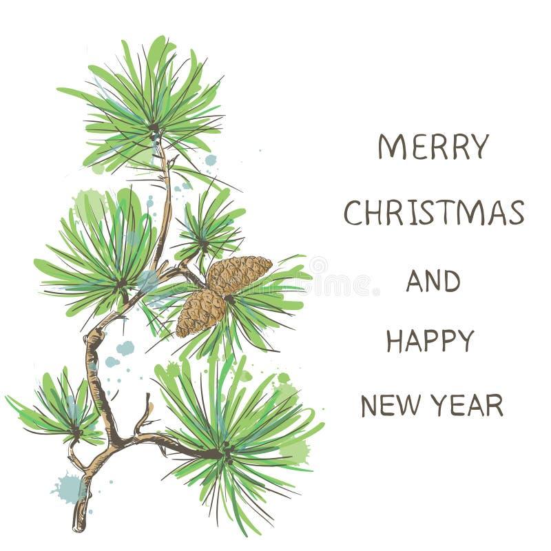 Fondo del día de fiesta con el árbol de navidad Grande para las tarjetas de Navidad, banderas, aviadores, carteles del partido Il ilustración del vector