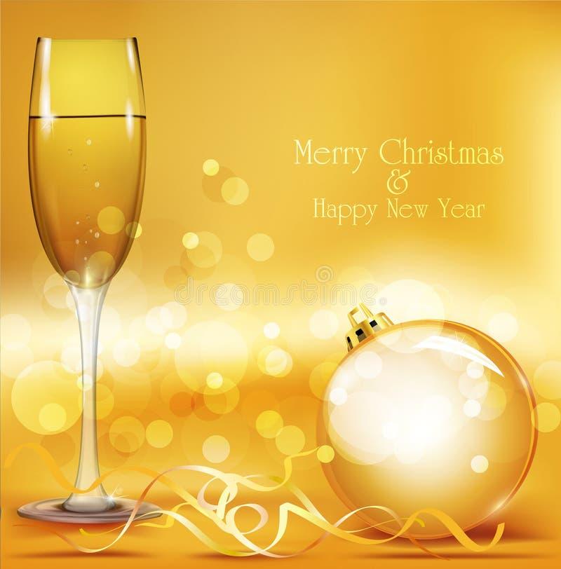 Fondo del día de fiesta con la bola del Año Nuevo ilustración del vector