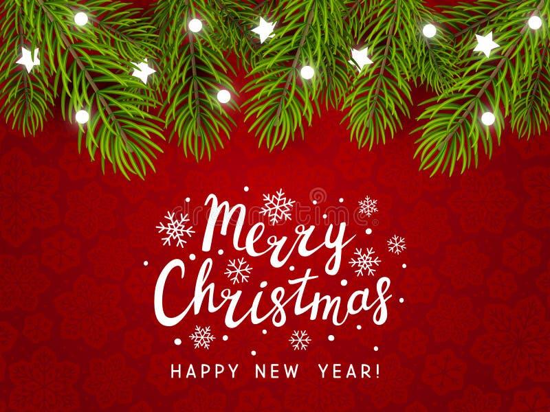 Fondo del día de fiesta con la frontera del árbol de navidad ilustración del vector