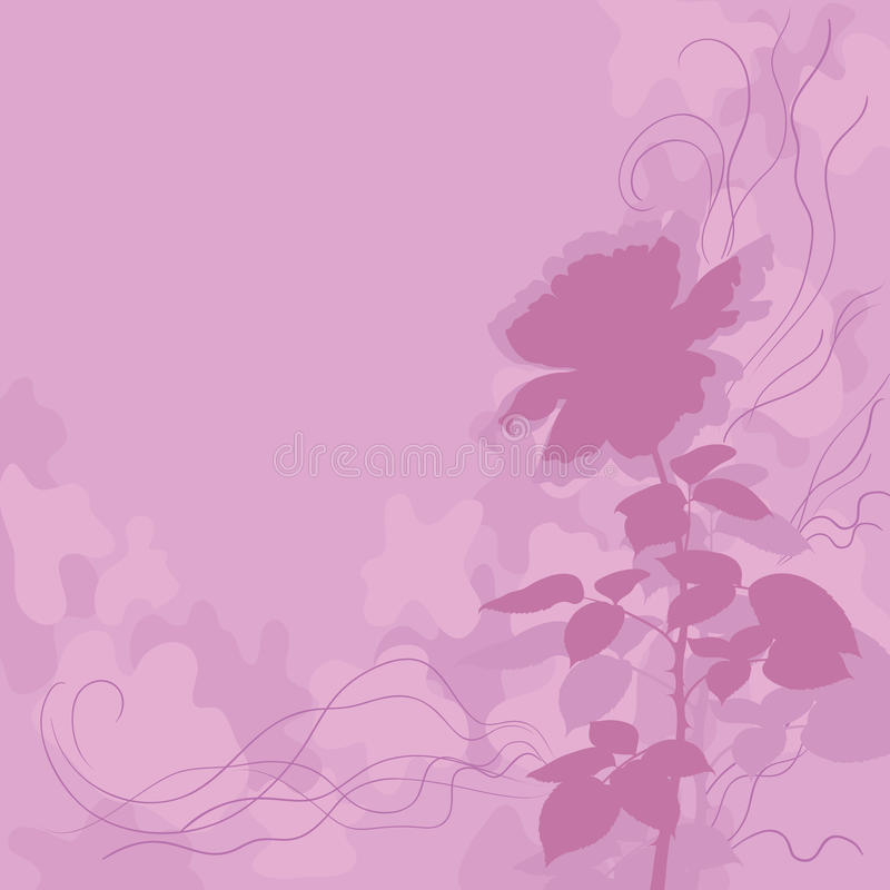 Fondo del día de fiesta con la silueta color de rosa de la flor ilustración del vector