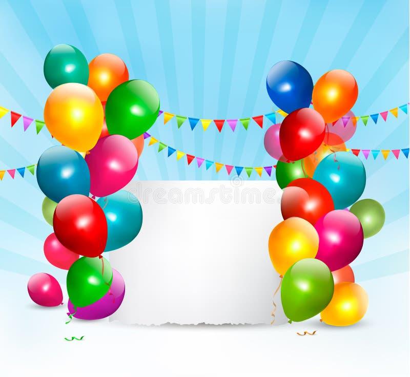 Fondo del día de fiesta con los globos coloridos ilustración del vector