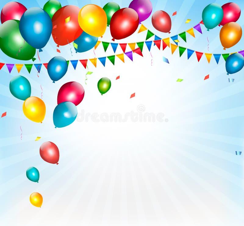 Fondo del día de fiesta con los globos y la bandera coloridos ilustración del vector
