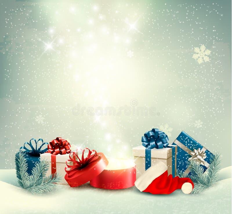 Fondo del día de fiesta de la Navidad con los presentes y la caja mágica ilustración del vector
