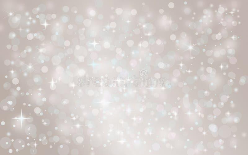 Fondo del día de fiesta de la Navidad del invierno de la nieve que cae abstracta de plata