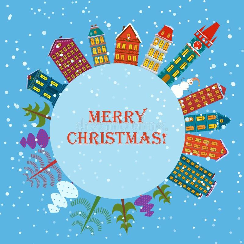Fondo del día de fiesta de la tierra de la Navidad Bandera redonda con los árboles, las casas de la historieta y el muñeco de nie libre illustration