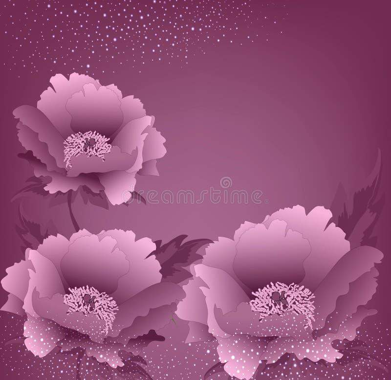 Fondo del día de fiesta del vector con las flores de la peonía ilustración del vector