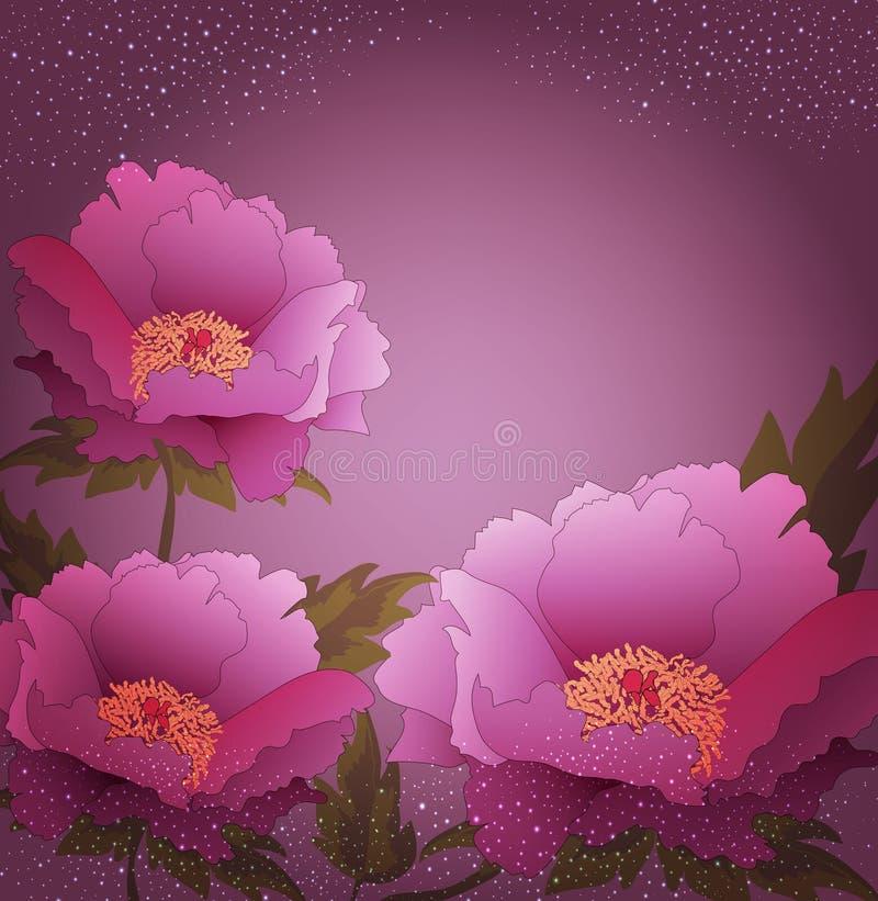 Fondo del día de fiesta del vector con las flores de la peonía stock de ilustración