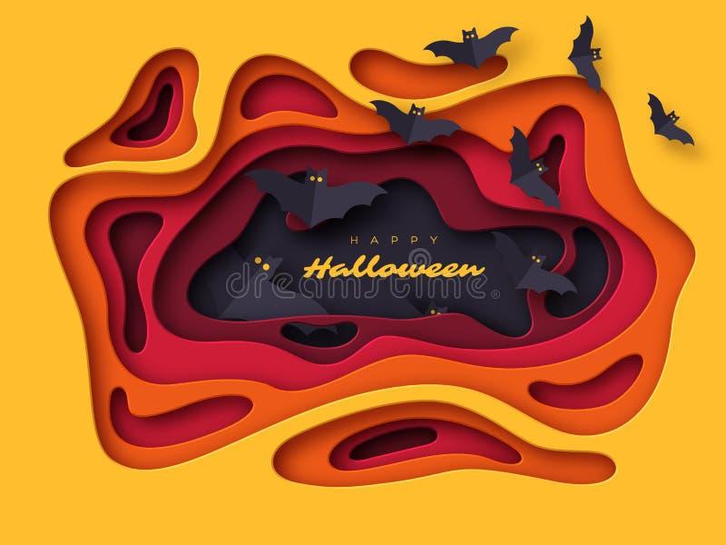 Fondo del día de fiesta de Halloween El papel cortó formas abstractas del estilo con los palos del vuelo efecto acodado 3d, ejemp libre illustration