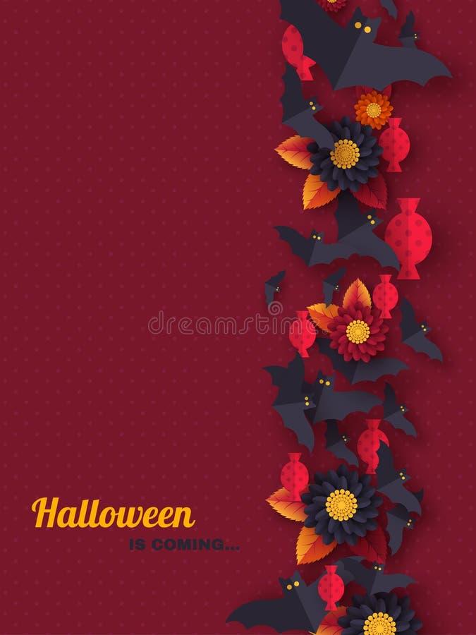 Fondo del día de fiesta de Halloween El papel cortó palos, el caramelo, las flores y las arañas del vuelo del estilo Fondo púrpur libre illustration