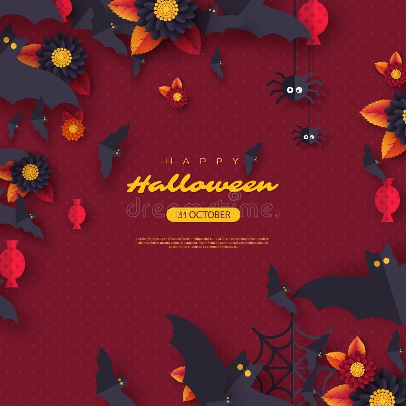 Fondo del día de fiesta de Halloween El papel cortó palos, el caramelo, las flores y las arañas del vuelo del estilo Fondo púrpur ilustración del vector