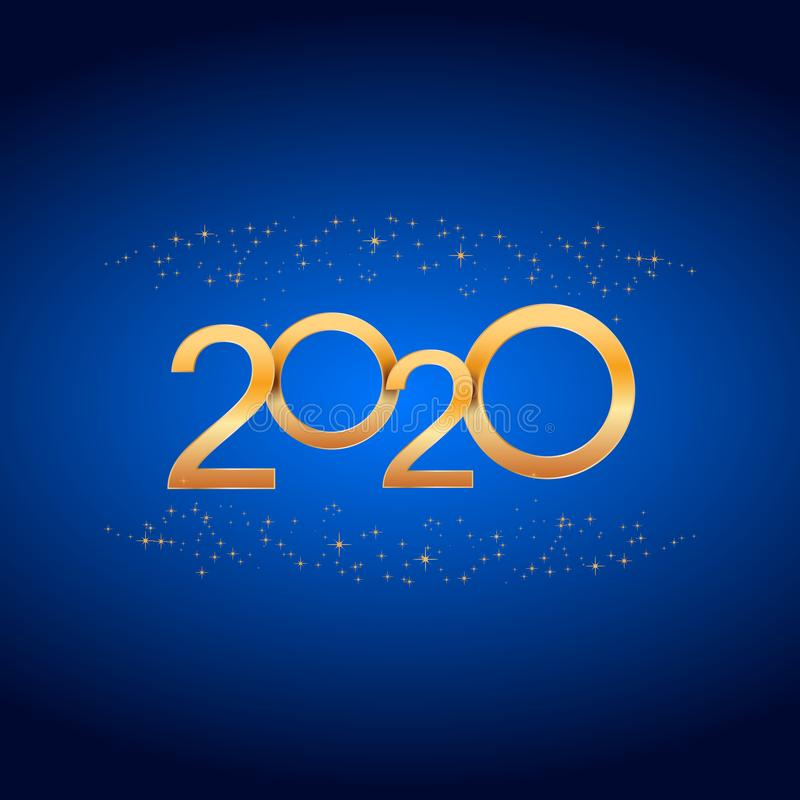 Fondo del día de fiesta de la Feliz Año Nuevo 2020 con números y chispas de oro brillantes Plantilla para la bandera, cartel, gre ilustración del vector