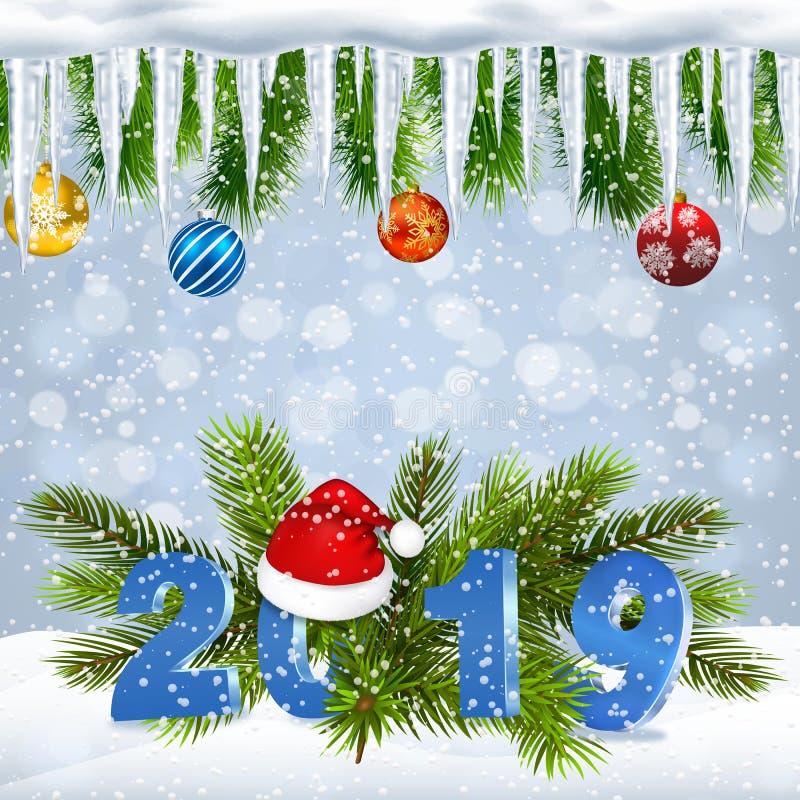 Fondo del día de fiesta de la Navidad con 2019 libre illustration