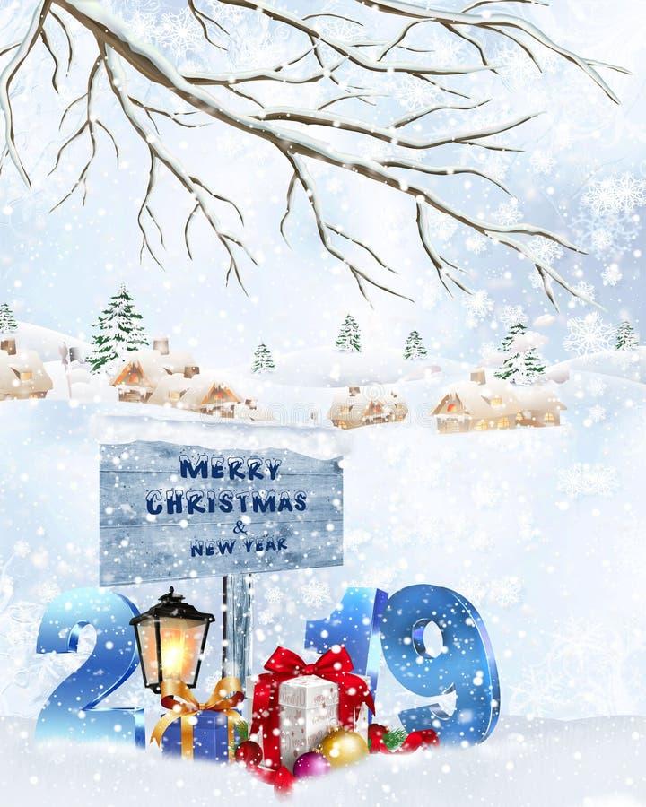 Fondo del día de fiesta de la Navidad con 2019 ilustración del vector