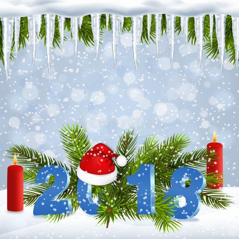 Fondo del día de fiesta de la Navidad con 2018 años libre illustration