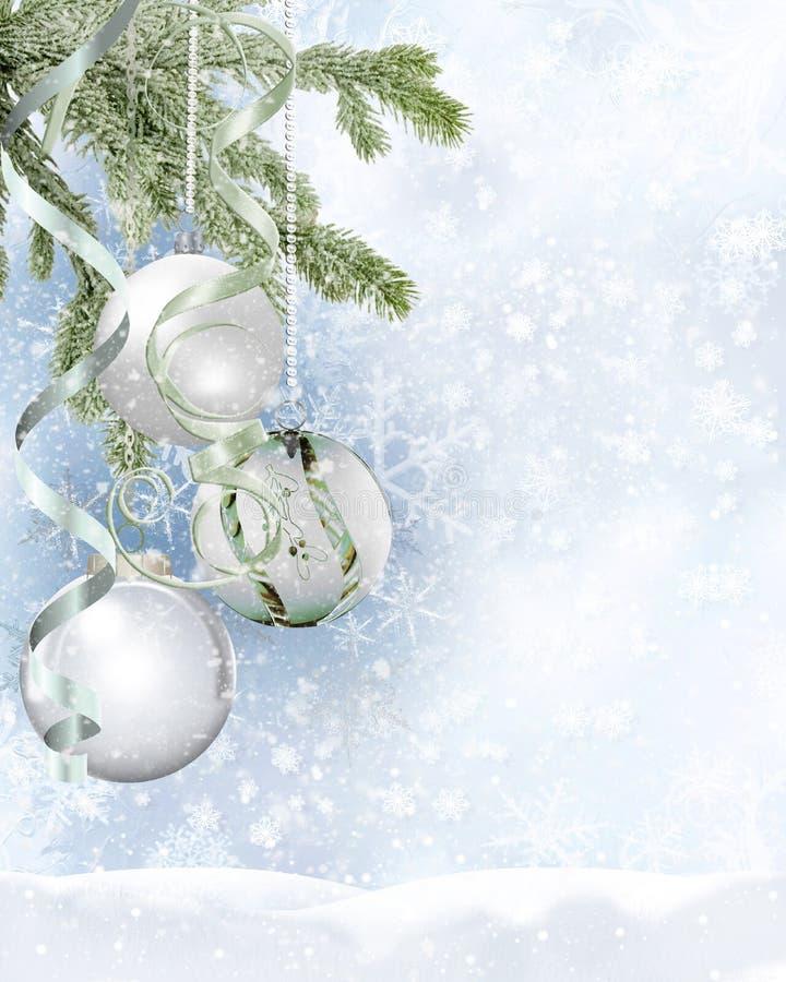 Fondo del día de fiesta de la Navidad con las bolas ilustración del vector